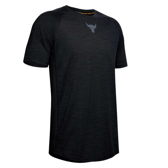 Under Armour Mens Project Rock Charged Cotton Tee, Black, rebel_hi-res