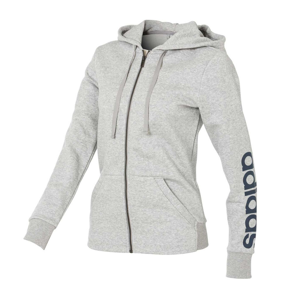 6476523a58f5 adidas Womens Essentials Full Zip Linear Hoodie Grey XS Adult ...