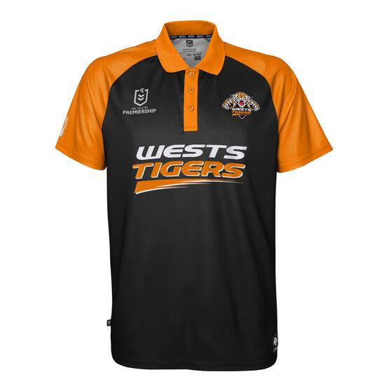 West Tigers 2021 Mens Polo, Black, rebel_hi-res