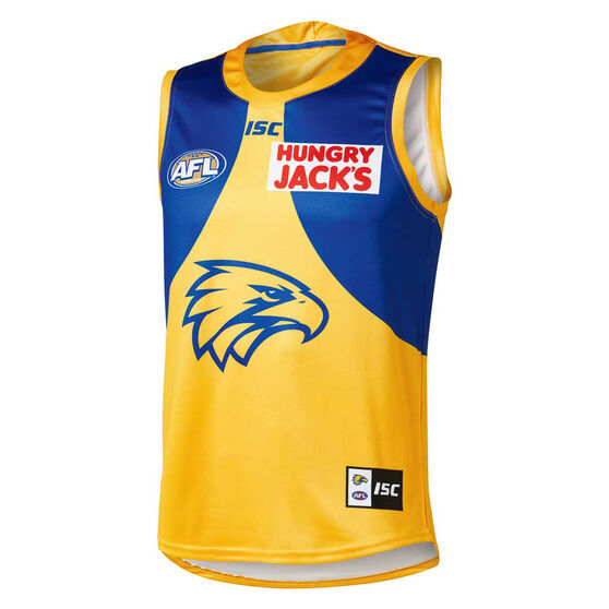West Coast Eagles 2019 Mens Away Guernsey Yellow / Blue M, Yellow / Blue, rebel_hi-res