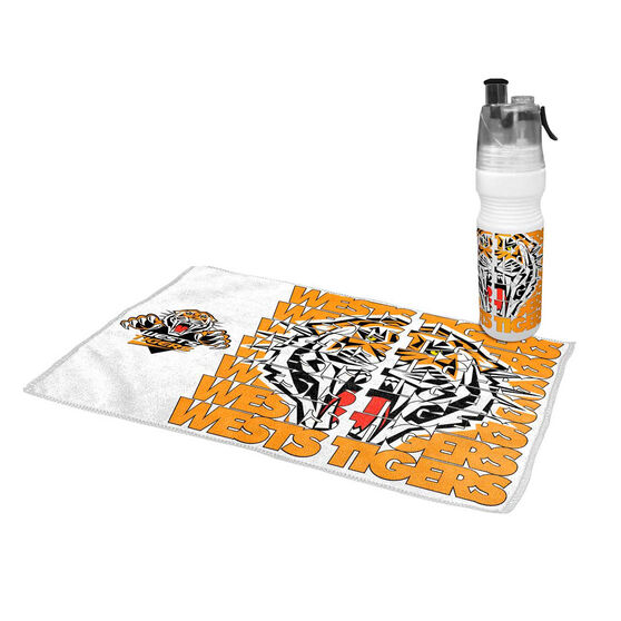 Wests Tigers 2019 Water Bottle and Gym Towel Pack, , rebel_hi-res