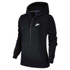 Nike Womens Sportswear Fleece Hoodie Black / White XS Adult, Black / White, rebel_hi-res