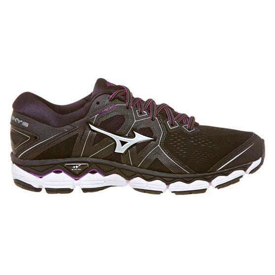 Mizuno Wave Sky 2 D Womens Running Shoes, Black / Purple, rebel_hi-res