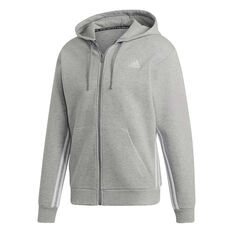adidas Mens Must Haves 3-Stripes Full Zip Hoodie, Grey, rebel_hi-res