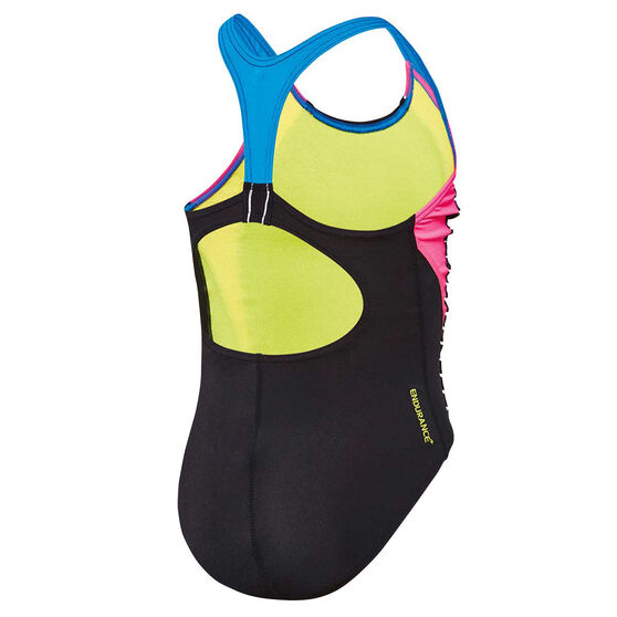 Speedo Girls Sport Image One Piece Swimsuit, Black, rebel_hi-res