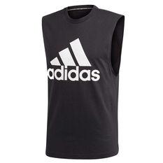 adidas Mens Must Haves Badge Of Sport Tank Black / White S, Black / White, rebel_hi-res