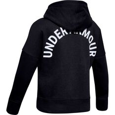 Under Armour Girls Rival Full Zip Hoodie Black / White XS, Black / White, rebel_hi-res