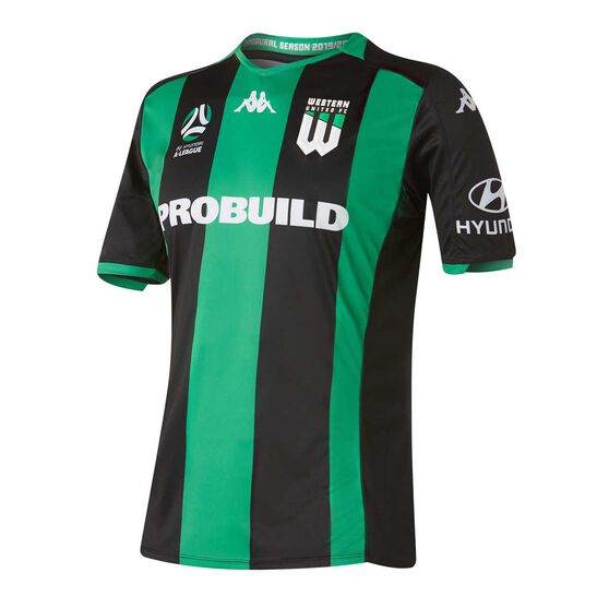 Western United 2019/20 Mens Home Jersey, Black / Green, rebel_hi-res