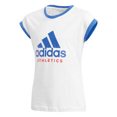 adidas Girls Sport ID Tee White / Blue 8, White / Blue, rebel_hi-res