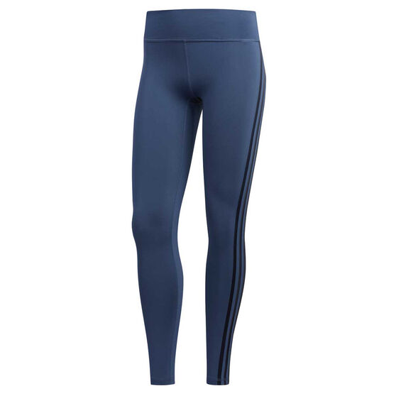 adidas Womens Believe This 3 Stripes Tights, Blue, rebel_hi-res