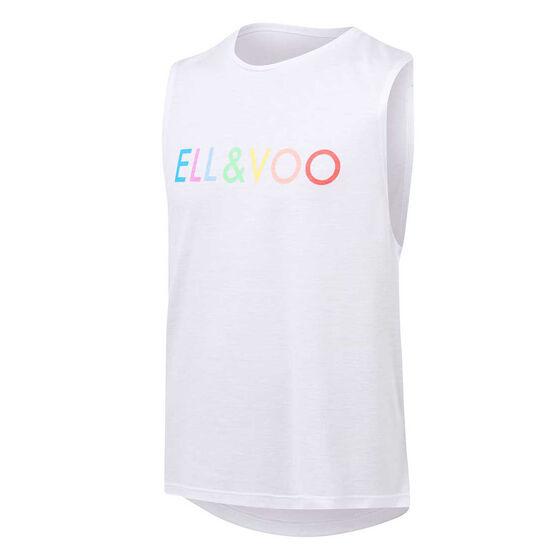 Ell & Voo Girls Abigail Logo Muscle Tank White 8, White, rebel_hi-res