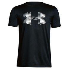 Under Armour Boys Big Logo Solid Tee Black / White XS, Black / White, rebel_hi-res