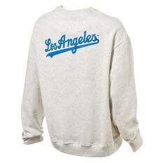 Los Angeles Dodgers Mens Gamily Crew Sweatshirt, Grey, rebel_hi-res