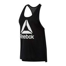 Reebok Womens Workout Ready Supremium Logo Tank Black XS, Black, rebel_hi-res