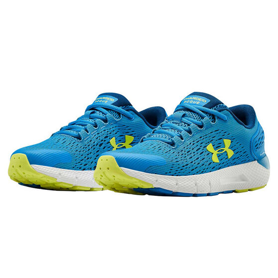 Under Armour Charged Rogue 2 Kids Running Shoes, Blue/Yellow, rebel_hi-res