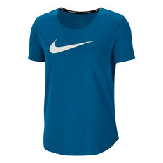 Nike Womens Swoosh Run Running Tee Green XS, Green, rebel_hi-res