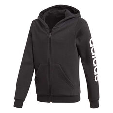 adidas Girls Essentials Linear Full Zip Hoodie Black / White 4, Black / White, rebel_hi-res