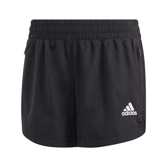 adidas Girls Woven Shorts, Black / White, rebel_hi-res