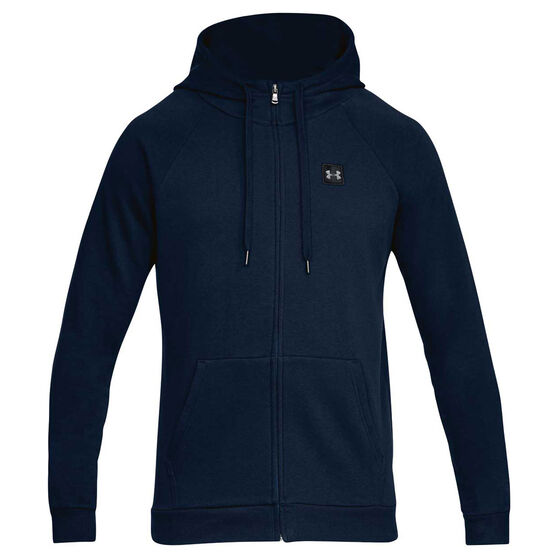 Under Armour Mens Rival Fleece Full Zip Hoodie, Navy / Black, rebel_hi-res