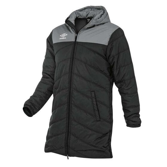 Umbro Long Padded Coaches Jacket, Black, rebel_hi-res