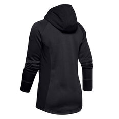 Under Armour Womens Project Rock Charged Cotton Full Zip Hoodie, Black, rebel_hi-res