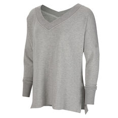 Nike Womens Yoga Fleece Cover Up Grey XS, Grey, rebel_hi-res