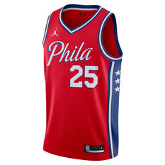 Jordan Philadelphia 76ers Ben Simmons 2020/21 Mens Statement Edition Swingman Jersey Red S, Red, rebel_hi-res