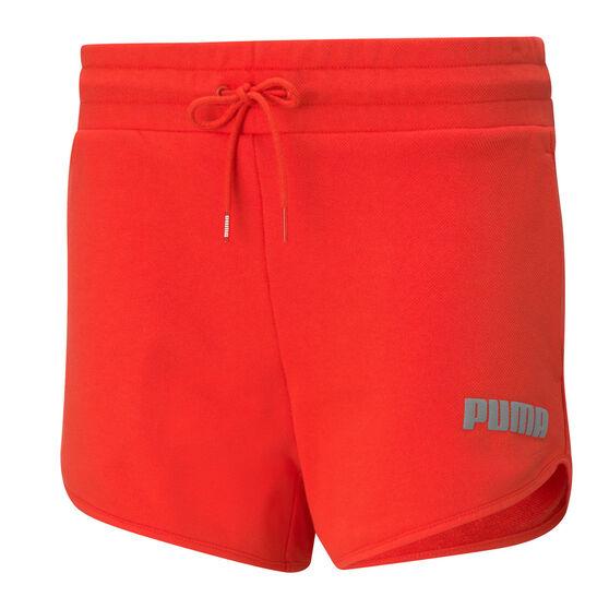 "Puma Womens Modern Basics 3"" High Waist Shorts, Red, rebel_hi-res"