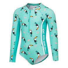 Roxy Toddler Girls Birds Long Sleeve Onesie Green 2, Green, rebel_hi-res
