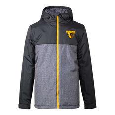 Hawthorn Hawks 2021 Mens Retro Stadium Jacket Grey S, Grey, rebel_hi-res