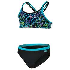 Zoggs Girls Wild Thing Two Piece Swimsuit Purple 6, Purple, rebel_hi-res