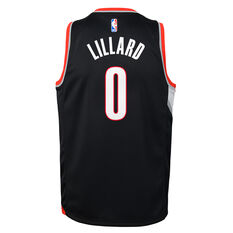 Nike Portland Trail Blazers Damian Lillard 2019/20 Kids Icon Edition Swingman Jersey Black / Red S, Black / Red, rebel_hi-res
