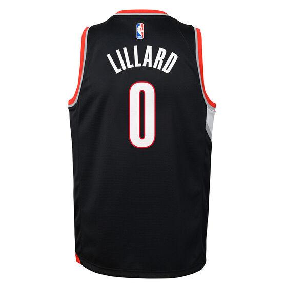 Nike Portland Trail Blazers Damian Lillard 2019/20 Kids Icon Edition Swingman Jersey, Black / Red, rebel_hi-res