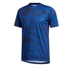 adidas Mens FreeLift Camo Training Tee Blue S, Blue, rebel_hi-res