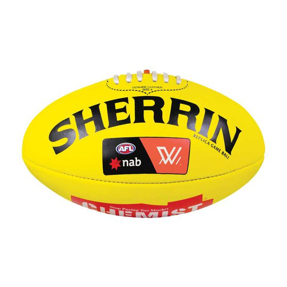 Sherrin AFLW Leather Replica Game Ball Yellow 4, , rebel_hi-res