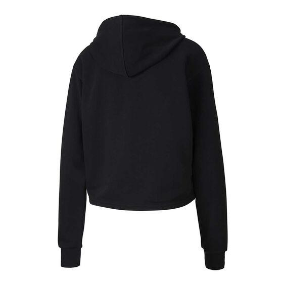 Puma Womens Essentials Metallic Cropped Hoodie, Black, rebel_hi-res