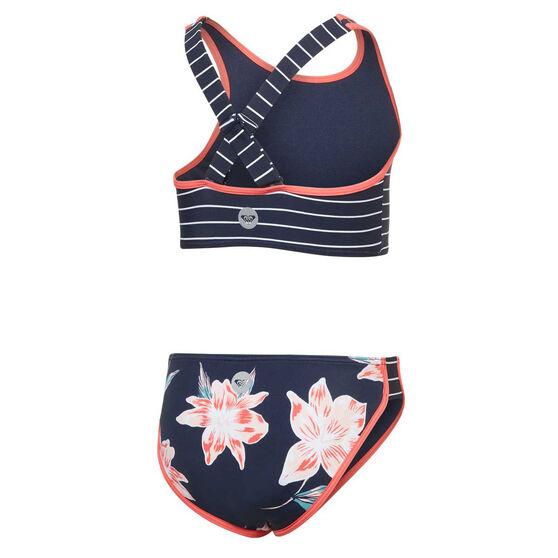 Roxy Girls Shore Crop Two Piece Swimsuit, Blue, rebel_hi-res