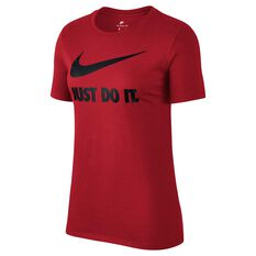 Nike Womens Just Do It Swoosh Tee Red / Black XS Adult, Red / Black, rebel_hi-res