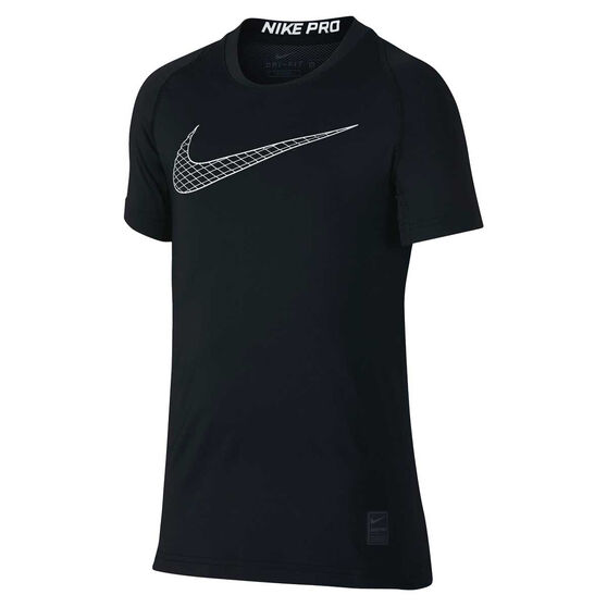 Nike Boys Pro Tee, Black / White, rebel_hi-res