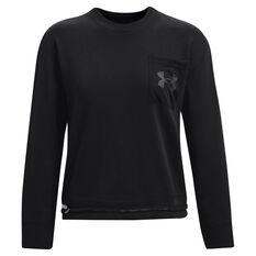 Under Armour Womens UA Rival Fleece Mesh Crew Sweatshirt, Black, rebel_hi-res