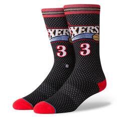Stance Mens Philadelphia 76ers 01 Allen Iverson Socks Multi M, Multi, rebel_hi-res
