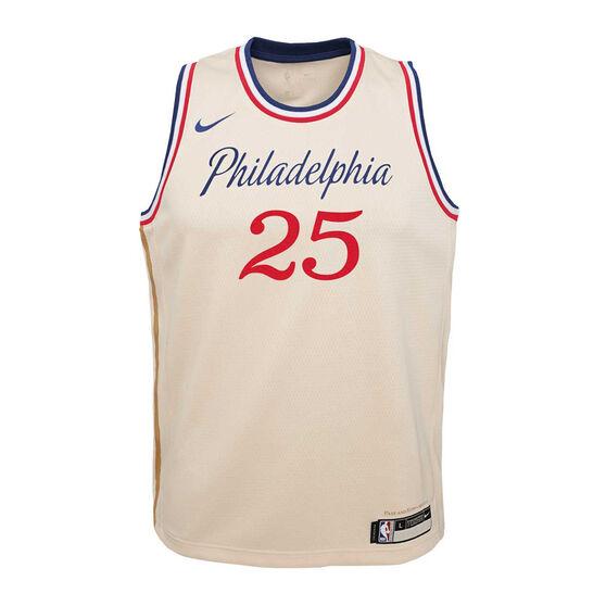 Nike Philadelphia 76ers Ben Simmons 2019/20 Youth City Edition Jersey, Beige, rebel_hi-res