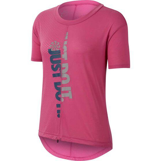 Nike Womens Icon Clash Running Tee, Pink, rebel_hi-res