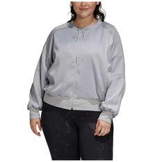 adidas Womens Glam On Bomber Jacket Plus, Grey, rebel_hi-res