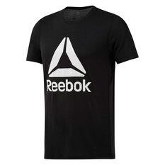 Reebok Mens Workout Ready Supremium 2.0 Graphic Tee Black S, Black, rebel_hi-res