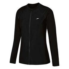 Speedo Womens Endurance Zip Up Long Sleeve Sun Top Black 8, Black, rebel_hi-res