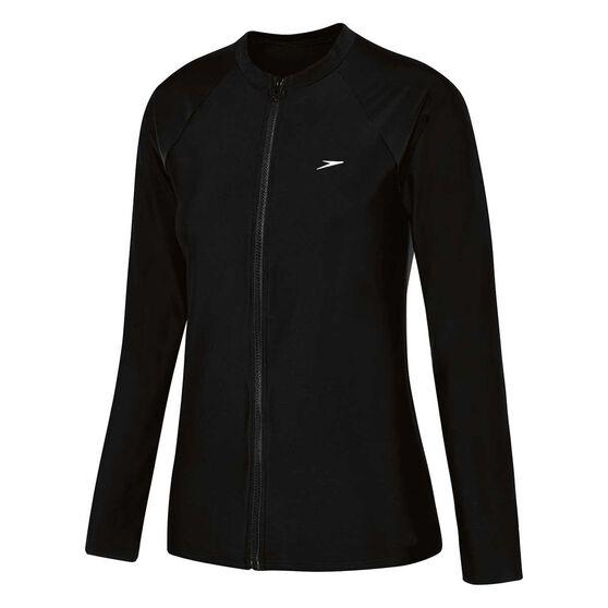 Speedo Womens Endurance Zip Up Long Sleeve Sun Top, Black, rebel_hi-res
