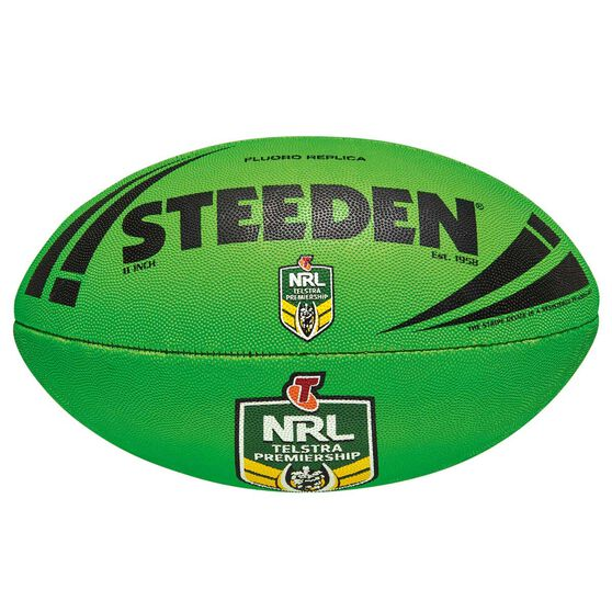 Steeden NRL Fluoro Replica Rugby League Ball Lime 11in, , rebel_hi-res