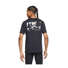 Nike Mens Dri-FIT Trail Running Tee Black XS, Black, rebel_hi-res