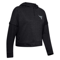 Under Armour Womens Project Rock Terry Hoodie Black XS, Black, rebel_hi-res
